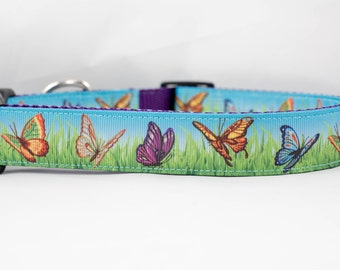 """Butterfly 1"""" inch wide Dog Collar, buckle or martingale, purple, nature, spring, summer, grass, butterflies"""