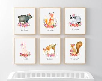 Woodland Animal Nursery Art, Girl Floral Nursery Prints, Floral Woodland Animals Be Kind Brave Clever Curious Wise Gentle Playful