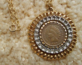Indian Head Penny Necklace, 1907 Indian Head Penny Necklace, Vintage Coin Necklace