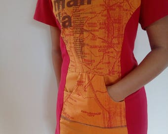 Short sleeve Upcycled  hoody top, red orange,size SMALL