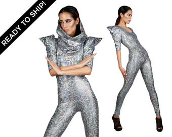 Signature Catsuit; Silver, Holographic Clothing, Jumpsuit, Futuristic Clothing, Burning Man, David Bowie, EDC Costume, Dancwear, LENA QUIST