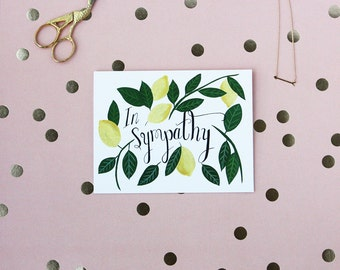Sympathy - Lemons - Greeting Card - Foliage - Card - Note - Thinking of You