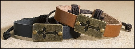 Leather Bracelet with Cross -  Leather Corded Bracelet with metal cross plate