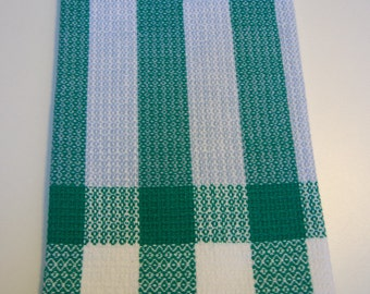 Woven Tea Towels, Handwoven Kitchen Towels, Cotton Hand Towels, Dish Towels, Chefs Towel, Hostess Gift, Green and Blue Woven Guest Towel