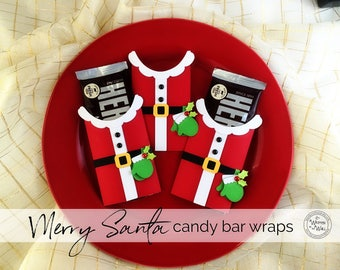 KIT MERRY SANTA Candy Bar Wrap /Santa Claus /Party Favor / Gift for Co-Workers and Employees /Christmas Neighbor Gift / Teacher Appreciation