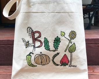 Buy Local tote bag - Canvas tote - Farmers Market, Veggies, Farm, Gardening