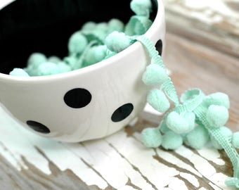 Mint pom pom trim 3 yards - 3-6 yards Pom Pom trim - 1/2 inch Pom Pom - Pom Pom Fringe - 10 mm Pom Pom Ball - Mint Trim - Pom Pom Ribbon