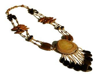 Bezeled Riverstone Necklace -  Indigenous Beadwork,  Double-Stranded
