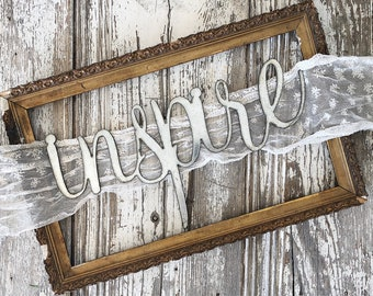 inspire Sign || Ready to Ship || Metal Sign || Home Decor || gallery wall || Galvanized || Black || cursive sign || cursive word ||