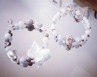 Duo of Bracelets butterflies, gemstones, Swarovski Crystal, Murano glass and silver