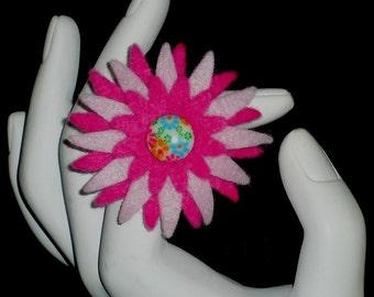 Lindsay          (Funky Felt Flowers Cocktail Ring)
