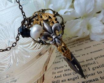 Writer's Pen Nib Necklace -Steampunk  Fleur de Lis Necklace - Gift for Author, Poet, Illustrator, Writer