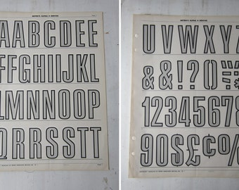 """Pair Vintage Typography Posters - Nursery Art -  Gray Alphabet and Numeral  16"""" x 22"""" (Pgs  1 & 2)"""