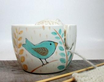 Yarn Bowl  Pottery Ceramic  Knitting bowl Crochet bowl Knitter giftHand Painted Ready to ship