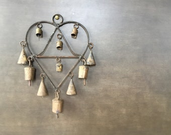 Rustic Heart Shaped Indian Bell Chimes