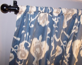 "Blue Ikat CURTAINS, Light Blue Curtains,Blue Ikat, Pair Drapery Panels,24"" Wide,52"" Wide,Valance"