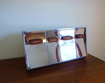 Ensemble Vintage mid century bidon des années 1950 en acier inoxydable pots Lincoln beauté Ware