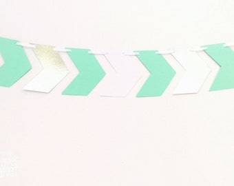 Chevron banner. Mint Green with white and silver. Photo Prop, Birthday party garland, bunting, baby shower. Boho Tribal Wilderness party.