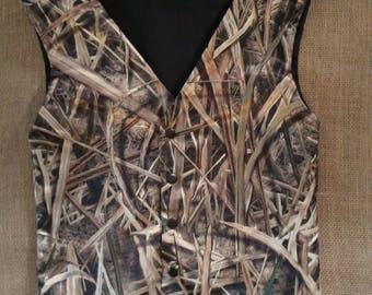 Boys and Men Vest (Mossy Oak Shadow Grass Blade satin shown in pic # 3 in fabric list 22 other camo colors. see description for Men sizes