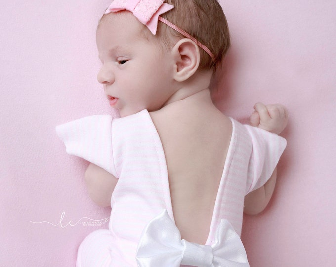 Pink Felt and Lace Bow Headband, foto, perfect for newborn photoshoots, newborn, bebe, my first bow, baby bow headband, Lil Miss Sweet Pea