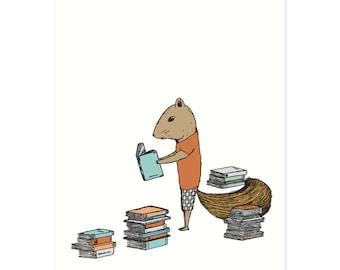 Reading Squirrel Print - Reading Print, Book Print, Kids Room Decor, Library Print, Nursery Art, Nursery Decor, Kids Art, 5 x 7 Illustration
