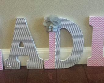 Custom Made Nursery Letters; Pink and Grey Nursery Letters; Baby Girl Name Letters; Nursery Decor; Custom Name Decor