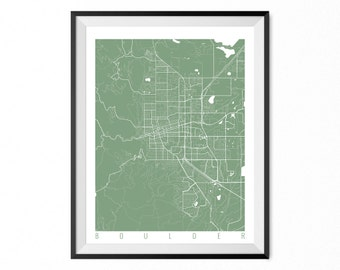 Boulder Map Art Print / Boulder City Poster / Boulder Wall Art / Colorado/ Gift / Colorado home decor