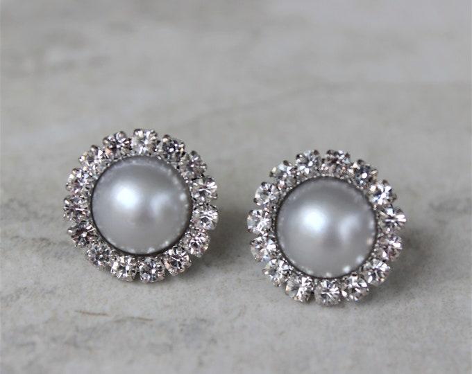 Silver Pearl Earrings, Silver Bridesmaid Earrings, Crystal and Pearl Earrings, Pearl Wedding Jewelry, Studs, Earrings for Bridesmaids Gift