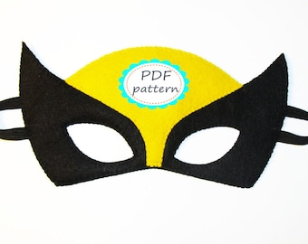 PDF PATTERN Wolverine felt mask Superhero sewing tutorial instruction Black Yellow DIY Halloween costume for boy girl adult Dress up play