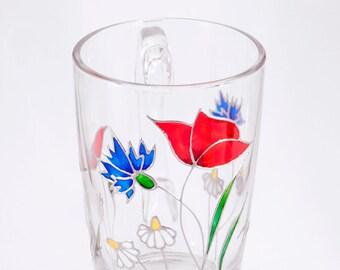 Flower Mug, Wild Flower Mug, Unique Coffee Mug, Spring Mug, Summer Mug, Glass Coffee Mug, Gift for Mom, Cute Mug