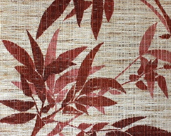 Original 70s or 80s fabric, leaves, dusty pink on beige