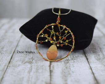 "Wire wrapped pendant ""Golden Autumn"" / Golden red pendant with Carnelian / Tree of Life pendant / Unique piece"