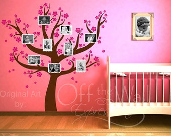 Nursery Room Family Tree Decal, Family Photo display, baby room decor, Grandparents, parents, sibling pictures, welcome baby.