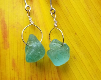 Earrings of Maui BONFIRE seaglass on sterling silver vines