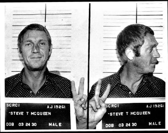 Steve Mcqueen mugshot, Cooler King, Legend, Thomas Crown Affair Black and white, old, vintage antique, photography, picture, print, fine art