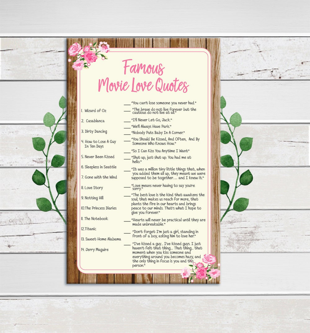 Famous Movie Love Quotes Bridal Shower Game Pink Flowers