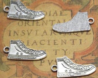 15pcs Running Shoe charms silver tone sports Shoes charm pendants, Sneakers 28x14mm ASD1482