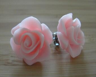 Large Baby Pink Flower Earrings