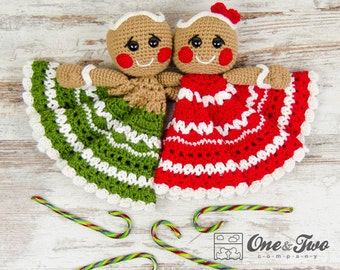 Nut and Meg Gingerbread Lovey / Security Blanket - PDF Crochet Pattern - Instant Download - Blankie Baby Blanket