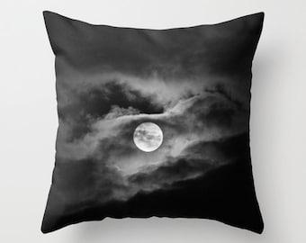 Full moon photo pillow, black and white home decor cloudy night sky cushion moon sofa pillow, mystical theme photo pillow