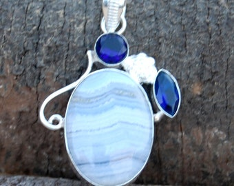 Natural Blue Lace Agate, Iolite Quartz Gemstone sterling silver Pendant, Crazy Lace Agate, Blue Lace Agate silver Handmade Pendant Jewelry