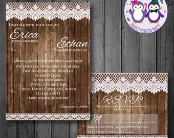 Wood & Lace Rustic Wedding Invitation, RSVP Card, Digital Wedding Invitation
