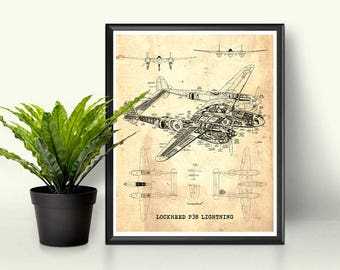 "P38 Lightning blueprint, Vintage blueprint, Instant Download, Aircraft Blueprint, Blueprint Art, P38 Lightning, 8x10"", 11x14"", 16x20"""