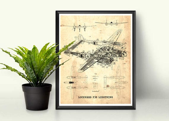 P38 Lightning Plan Vintage Blaupause Instant Download