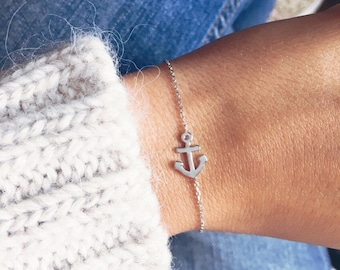 Thin silver bracelet 925 - Navy ink - thin chain - silver sterling bangle