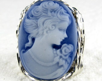 Classic Blue Lady Rose Cameo Ring .925 Sterling Silver Jewelry Art Size Selectable