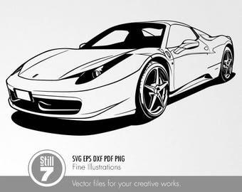 Ferrari 458 Italia Svg Eps Dxf Pdf Png