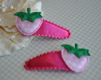 Pink Strawberry on hot pink padded clip