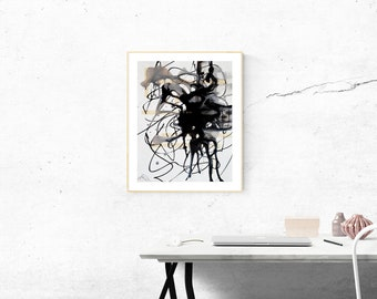 ABSTRACT ART, PAINTING Expressionist, Modern Urban, Art Contemporary, Original Artwork, Medium Mixte, Flowing Art, Wall Decorating, Black