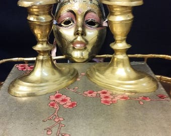Pair of Mystical Brass Candlestick Holders
